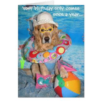 Cartão Respingo do aniversário do Bather da praia do
