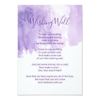 Cartão Respingo roxo violeta da aguarela que deseja bem