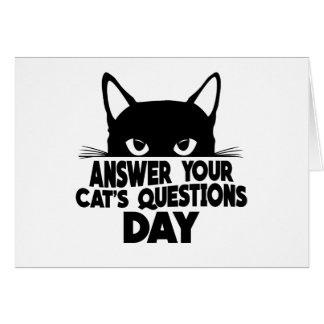 Cartão Responda ao dia das perguntas do seu gato