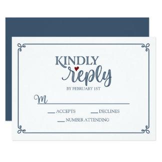 Cartão Resposta amável - azul empoeirado & vermelho -