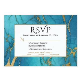 Cartão Resposta azul do casamento do mármore RSVP do ouro