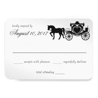 Cartão Resposta da prata da carruagem do conto de fadas