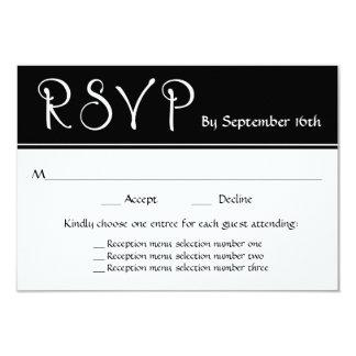 Cartão Resposta das escolhas do menu da recepção de