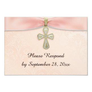 Cartão Resposta do batismo RSVP do baptismo da menina