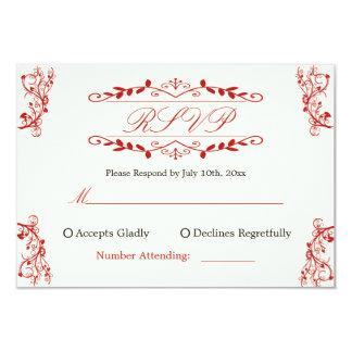 Cartão Resposta do casamento com gráficos ornamentado
