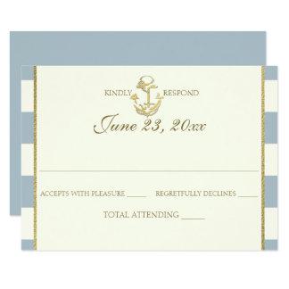 Cartão Resposta do casamento do azul de aço e do ouro da