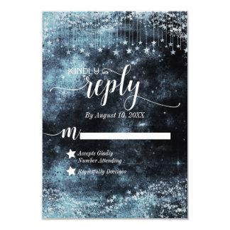 Cartão Resposta golpeada estrela RSVP do casamento da