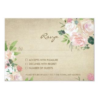 Cartão Resposta rústica do rsvp do casamento do rosa do