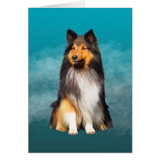 Cartão Retrato da arte do Sheepdog de Sheltie Shetland