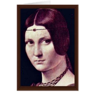 Cartão Retrato de uma jovem mulher (Belle Ferronière do