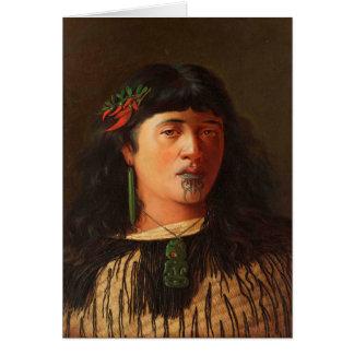 """Cartão """"Retrato de uma mulher maori nova com Moko"""