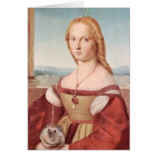 Cartão Retrato de uma senhora com um Hedgiecorn
