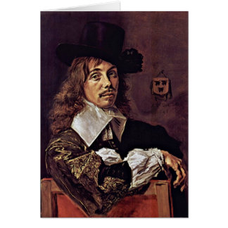 Cartão Retrato de Willem Coymans. Por Frans Hals