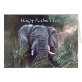 Cartão Retrato do elefante, dia dos pais feliz