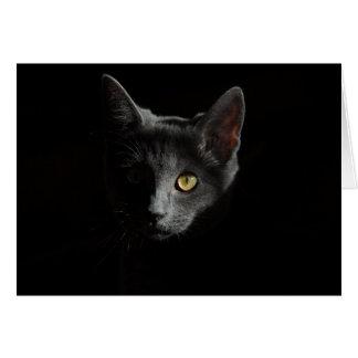 Cartão Retrato do gato do gato preto | de Shorthair | do