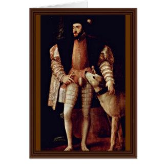 Cartão Retrato do imperador Charles V com o cão por