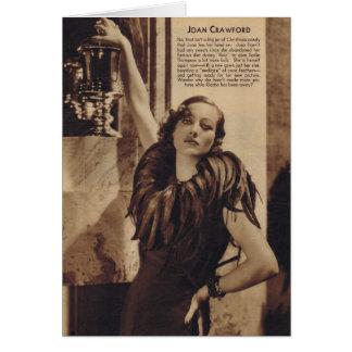 Cartão Retrato do vintage de Joana Crawford com penas