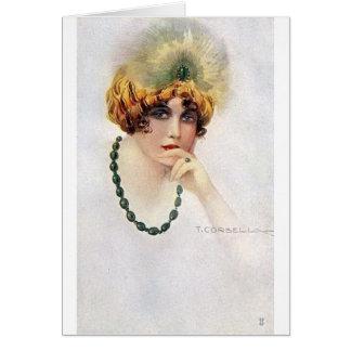 Cartão Retrato do vintage de um Flapper,