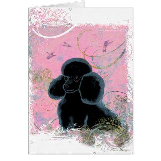 Cartão Retrato preto da caniche com colibris
