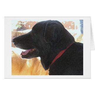 Cartão Retrato preto do laboratório - amante do cão do