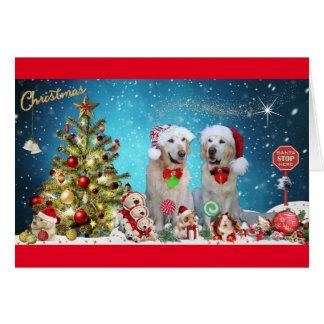 Cartão Retriever dourado no espírito do Natal