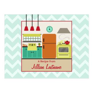 Cartão retro colorido da receita da cozinha