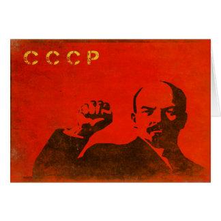 Cartão retro com impressão de Lenin URSS do vintag