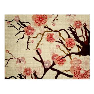 Cartão retro da flor de cerejeira cartão postal