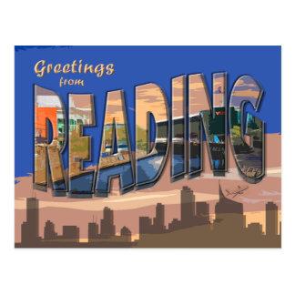 Cartão retro da leitura do estilo cartão postal