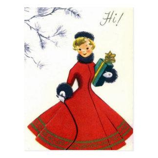 Cartão retro da mulher do feriado do Natal do