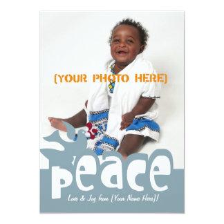 Cartão retro da paz & da alegria convite 12.7 x 17.78cm