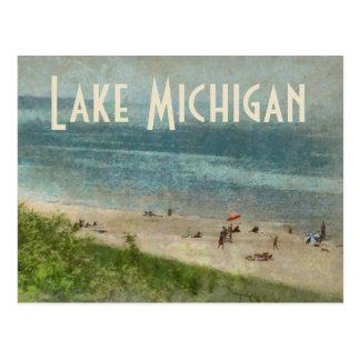 Cartão retro da praia da linha costeira do Lago