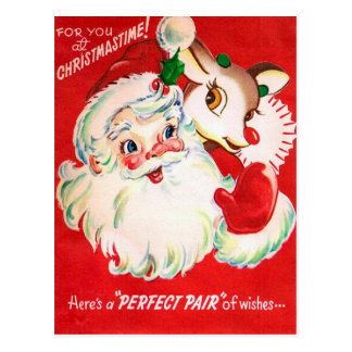 Cartão retro da rena do papai noel do natal