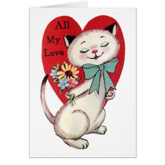 Cartão Retro design do gato do amor dos namorados todo