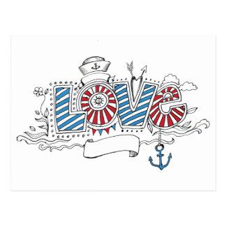 Cartão retro do amor do marinheiro náutico