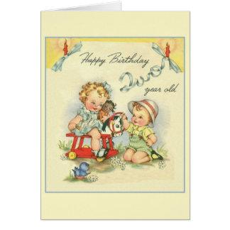 Cartão retro do aniversário da criança de dois ano