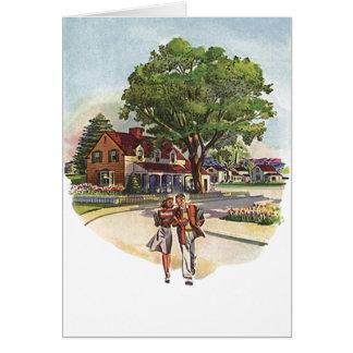 Cartão retro do aniversário do Stroll do casal dos