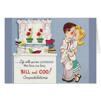 Cartão retro do aniversário dos Lovebirds