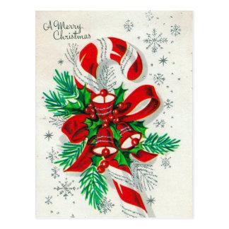 Cartão retro do bastão de doces do Natal do