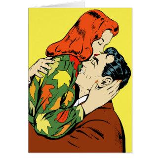 Cartão retro do casal da banda desenhada