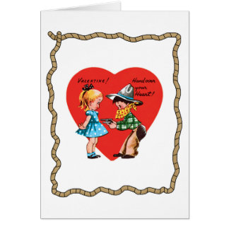 Cartão retro do dia dos namorados da corda do