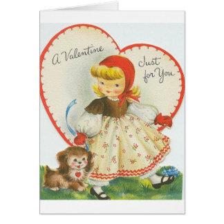 Cartão retro do dia dos namorados da menina e do