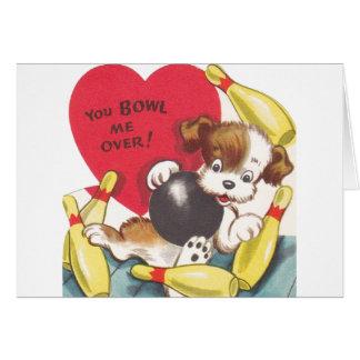 Cartão retro do dia dos namorados do filhote de