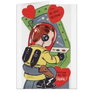 Cartão retro do dia dos namorados do navio de