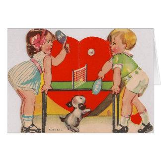 Cartão retro do dia dos namorados do ténis de mesa