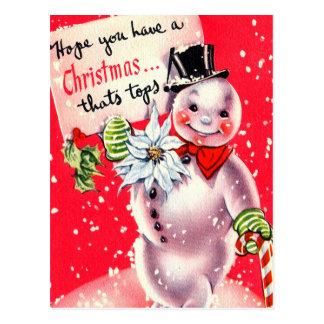 Cartão retro do feriado do boneco de neve do natal