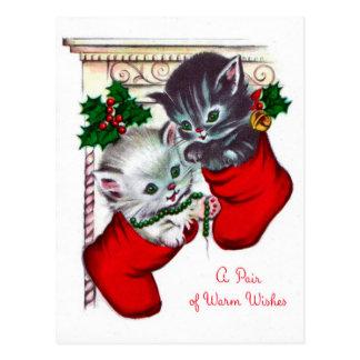 Cartão retro do feriado do gato do natal vintage
