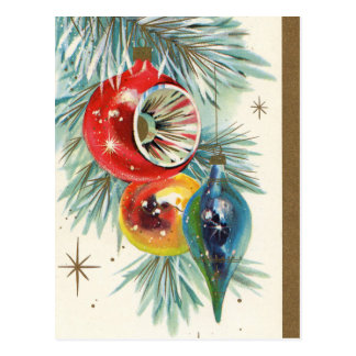 Cartão retro do feriado dos bulbos do Natal do