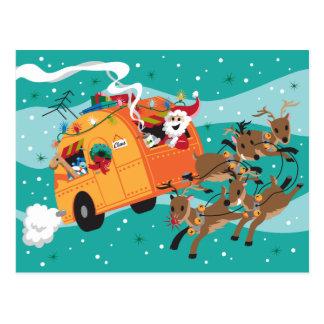 Cartão retro do Natal da viagem do feriado