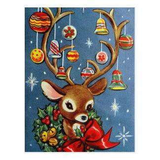Cartão retro do Natal do feriado da rena do